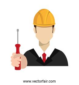 avatar worker holding a screwdriver tool