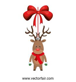 deer decoration with red bow ribbon