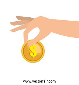 hand with gold coin