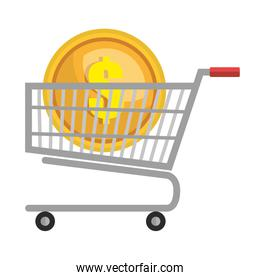 supermarket cart with coin money