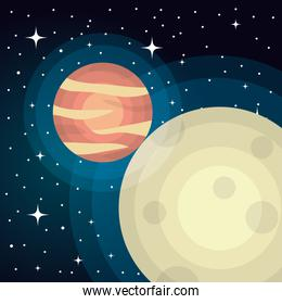 planets on universe space