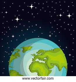 planet earth on space