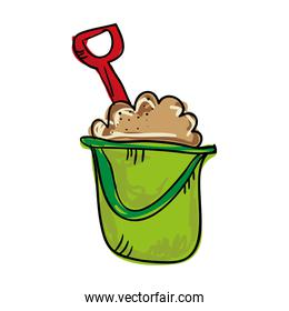 green bucket with sand