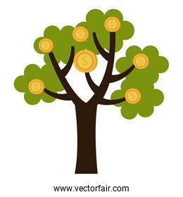 green tree with gold coins