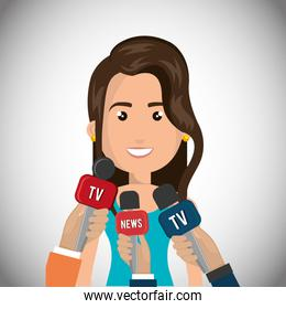 Woman avatar and news microphones