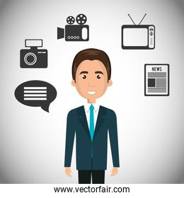avatar journalist man with news icons