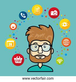 man avatar and social media design
