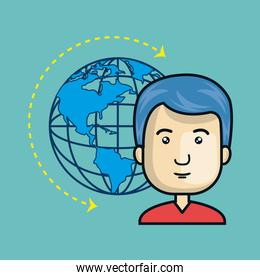 avatar man with earth planet icon