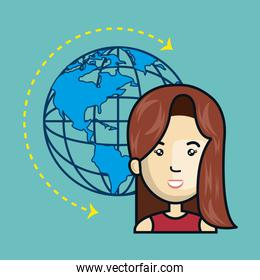avatar woman with earth planet icon