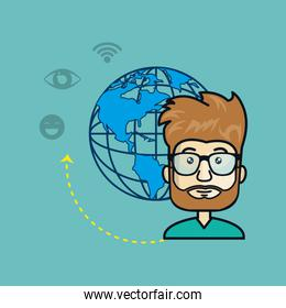 avatar man with planet and media and network icons