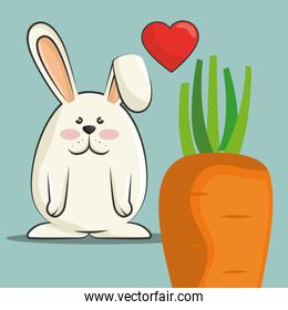 cute rabbit and carrot vegetable