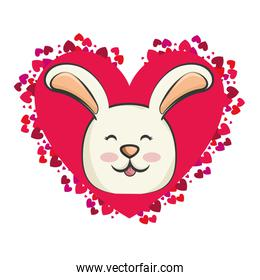 cute rabbit with red heart