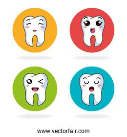 cartoon tooth expression faces