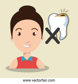avatar woman with tooth icon