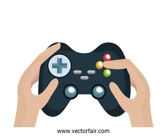 hands with video game control