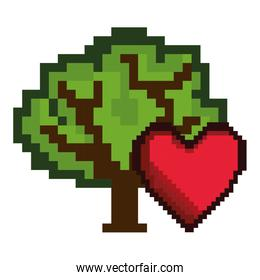 heart and tree game pixel figure