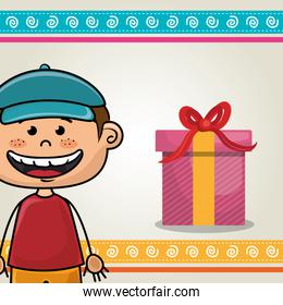 boy smiling and gift box