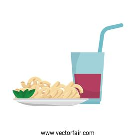 macaroni gourmet plate with soda drink