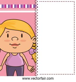 card with girl smiling