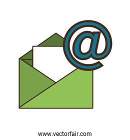 green envelope with at symbol