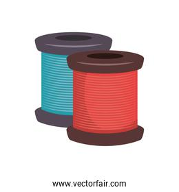 spool of blue and red thread