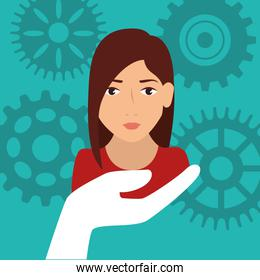 business woman and gears