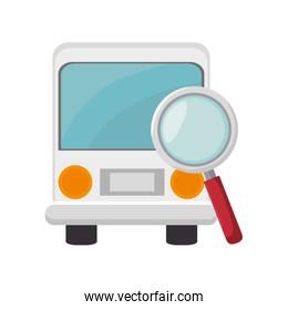 bus and magnifying glass