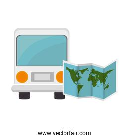 bus and world map