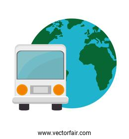 bus and earth planet
