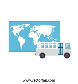 isolated bus and world map