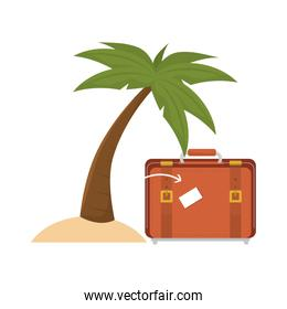suitcase and  palm tree