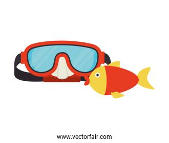 red snorkel and fish