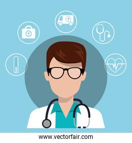 avatar man medical doctor with stethoscope and medice icon set