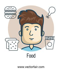 avatar man with food design