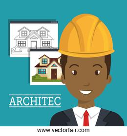 man smiling architect with yellow helmet safety equipment and architecture  construction plans