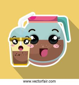 coffee drink kawaii cartoon