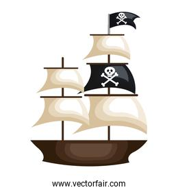 pirate ship isolated icon