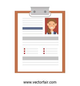 curriculum vitae paper isolated icon