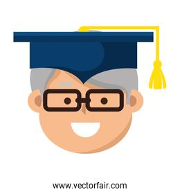 old man graduate character