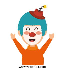 circus clown character icon over white