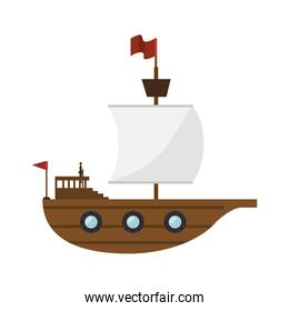 sailboat toy kid isolated icon