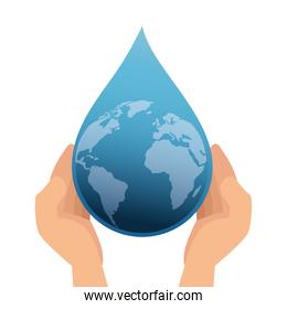 hands with world planet earth in drop water