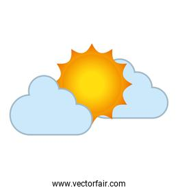clouds and sun isolated icon