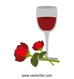wine cup with rose