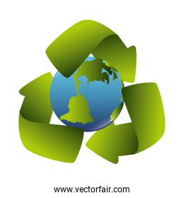 world planet with recycling arrows isolated icon