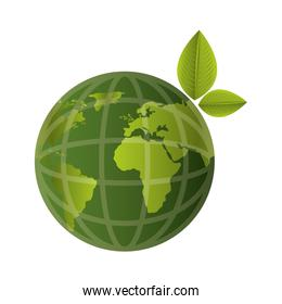 world planet with green leaves isolated icon
