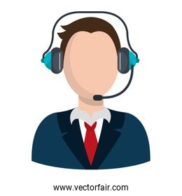 businessman character avatar with headset icon