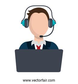 avatar businessman with laptop and headset