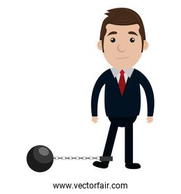 businessman character with slave fetter icon
