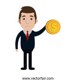 businessman character with money coin icon